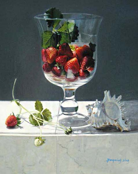 Fengming Ding painting of Strawberries in a glass with a conch shell