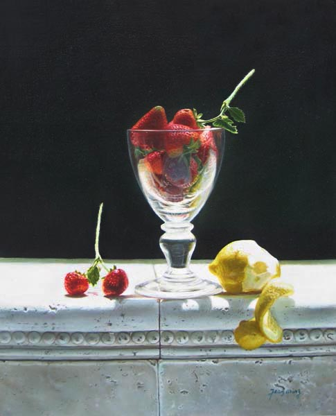 Fengming Ding painting of strawberries in a glass with half peeled lemon