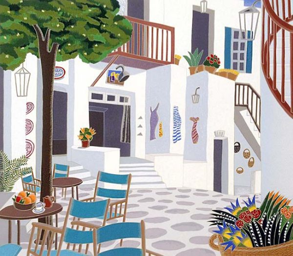 Thomas McKnight - Street print of town square in Greece with table and chairs