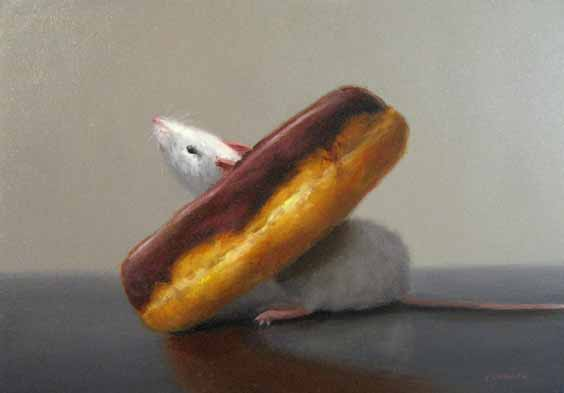 Stuart Dunkel painting of Mouse Stuck in Chocolate Glazed Doughnut