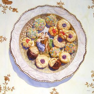 Irena Roman Whimsical Pastel Colored Watercolor of Sugar Cookies on Plate Still Life