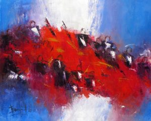Marcelle Dube Oil Painting on Canvas of Symphony Orchestra in Red and Purple Blue with Musicians