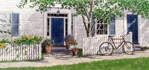 Carol Collette etching on paper of front door of house with bike and tree and picket fence