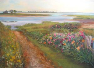Celia Judge Traditional Oil Painting on Canvas of Wild Flowers on the Bay of the Ocean with a Dune Path