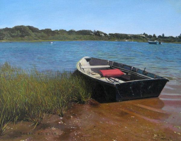 Robert Bolster Painting of a row boat resting on the shore