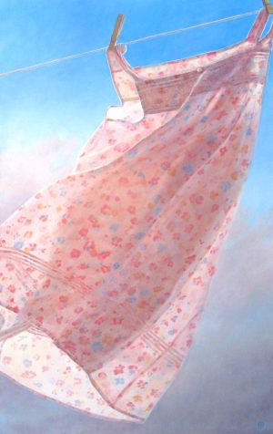 Lorena Pugh Surreal Oil Painting of a Pink Dress on a Clothesline