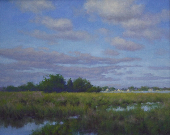 Hillary Scott Landscape Oil Painting of Marsh Landscape in North Shore MA