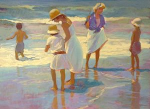 Don Hatfield - Summer Holiday print of two women and three children playing in water at shoreline