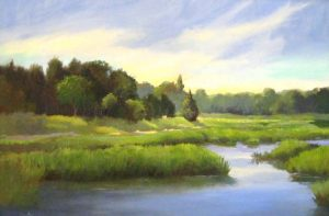 Maryalice Eizenberg - Summer Marsh - Painting of a marsh with a beautiful sky