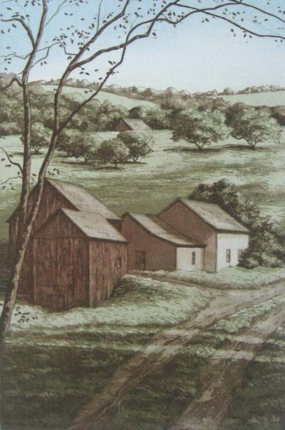Kathleen Cantin - Summer Place (8.5x5.5 etching on paper)