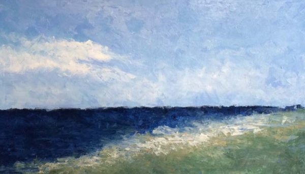 Leah Mitchell Contemporary Oil Painting on Canvas of Sea Shore Horizon with Ocean and Marsh