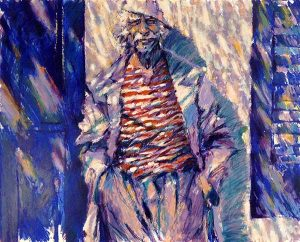 Aldo Luongo - Summer Smile print of old man in hat smiling and leaning against wall with hands in pockets