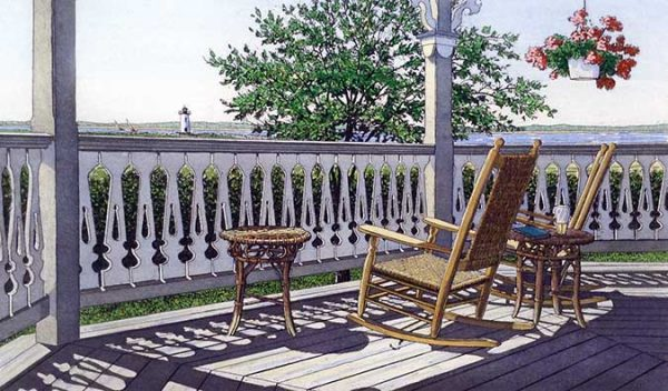 Carol Collette Etching of two wicker chairs on a porch facing a lighthouse