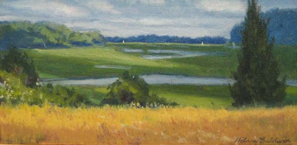 Hilary Baldwin Painting of a marsh landscape with green trees yellow grass