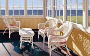 Edward Gordon - Sun Porch print of room with chairs overlooking ocean