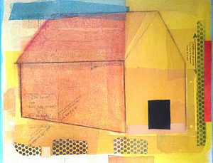 Laurie Goddard Abstract Contemporary Painting of a House Barn Pink Yellow Architecture