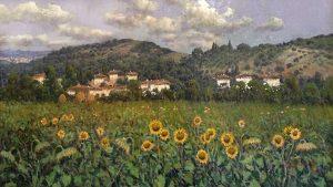 Antonio Sannino Tuscan Sunflower Field oil painting on canvas