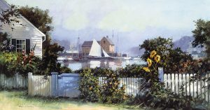 Paul Landry - Sunflowers print of seaside home with white picket fence and sailboat in harbor
