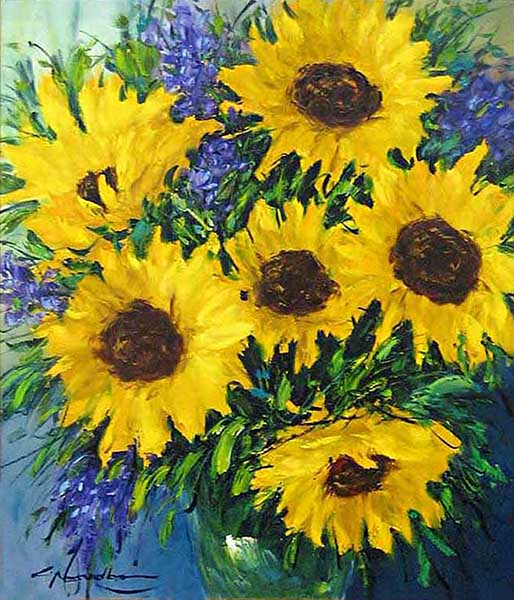 Christian Nesvadba Sunflowers with other purple flowers on blue background