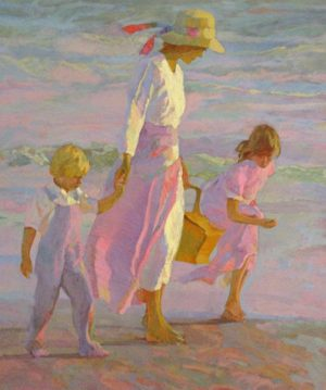 Don Hatfield - Sunlit Stroll mother and two children walking on the beach