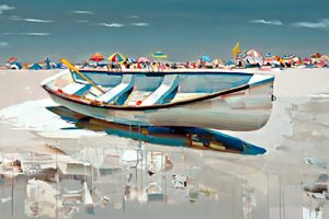 Joseph Kote Limited Edition Giclee of Painting on Canvas with White Row Boat on Sunny Day at Beach with Teal Blue Waters