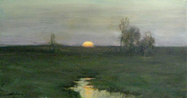 Dennis Sheehan Oil Painting on Canvas of Sun setting over the Horizon with Green Meadow and Trees