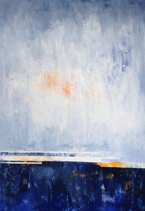 Leah Mitchell Contemporary Oil Painting on Canvas of Abstract Ocean Seascape Nautical Horizon Sunset