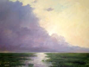 Mary Nolan Traditional Oil on Canvas of Purple Clouds Water Marsh Horizon Green Grass