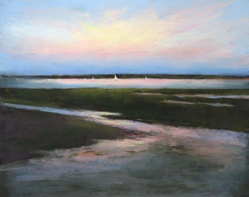 Dannielle Mick Pastel on Paper of Marsh at Sunset