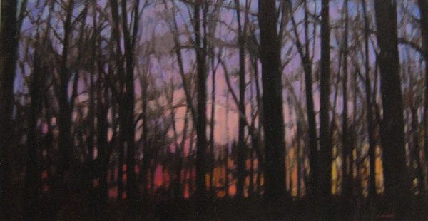 Lynne Adams painting of Sunset Through Trees oil on paper