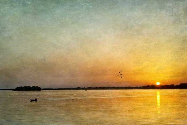 Photograph of sunset on Danube River