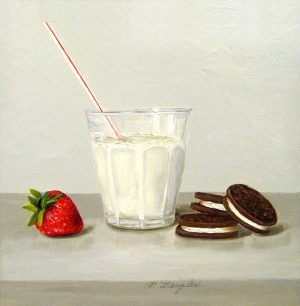 Patti Zeigler Still-life Painting of Milk with Straw