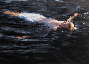 Carol O'Malia OMalia Contemporary Oil Painting of Boy Floating Swimming in Water
