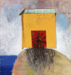Carolyn Evans - Third Balancing Act - Abstract painting of a house sitting precariously on a hill