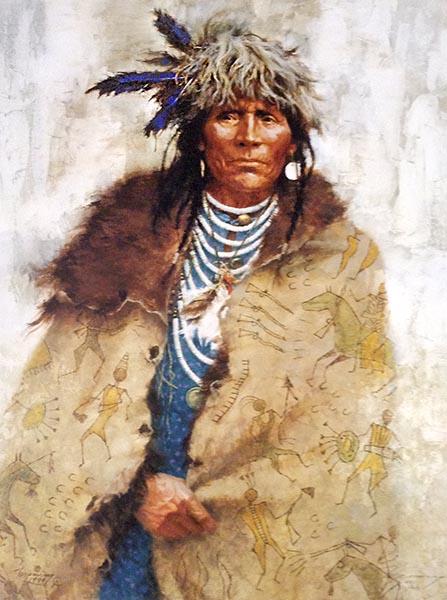 Howard Terpning - Talking Robe print of native american man wearing a coat with drawings