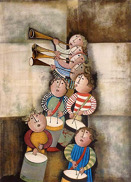 Graciela Boulanger - Tambourns & Trompets print of people playing horns and drums