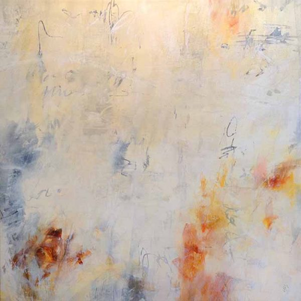 Jodi Maas Oil on Canvas of Tangerine Orange and Gray on White Abstract Neutral