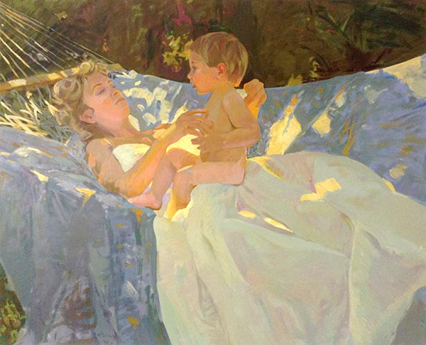 Don Hatfield - Tender Moments print of mother and young son laying in hammock