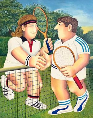 Beryl Cook - Tennis print of two players after a tennis game shaking hands