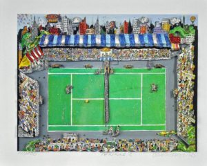 Charles Fazzino 3D serigraph on paper of tennis match