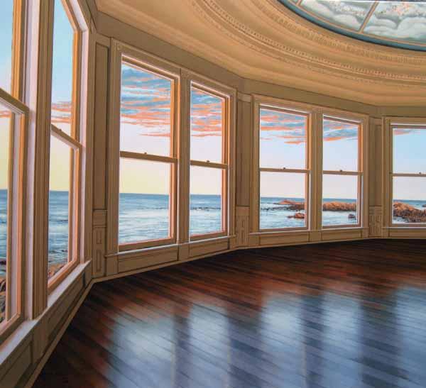 Edward Gordon - The Ballroom print of large empty room with big windows overlooking ocean