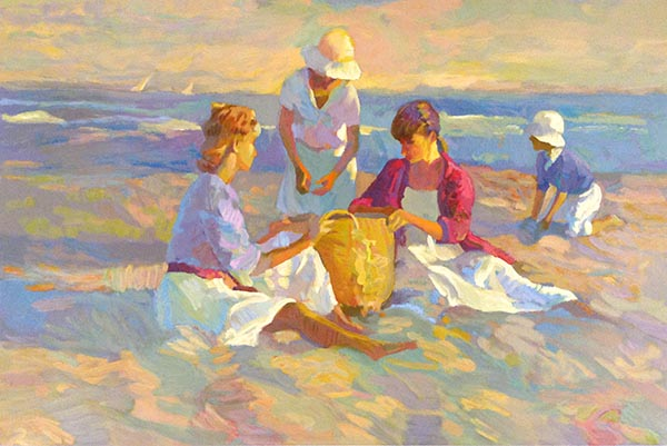Don Hatfield - The Basket print of three women and a child having a picnic on the beach