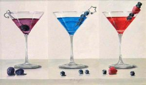 Patti Zeigler - The Berries - Painting of three berry martinis
