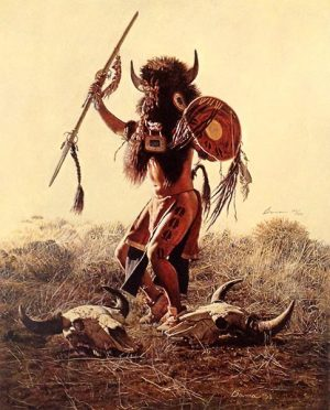 James Bama - The Buffalo Dance print of native american man with headdress and weapons