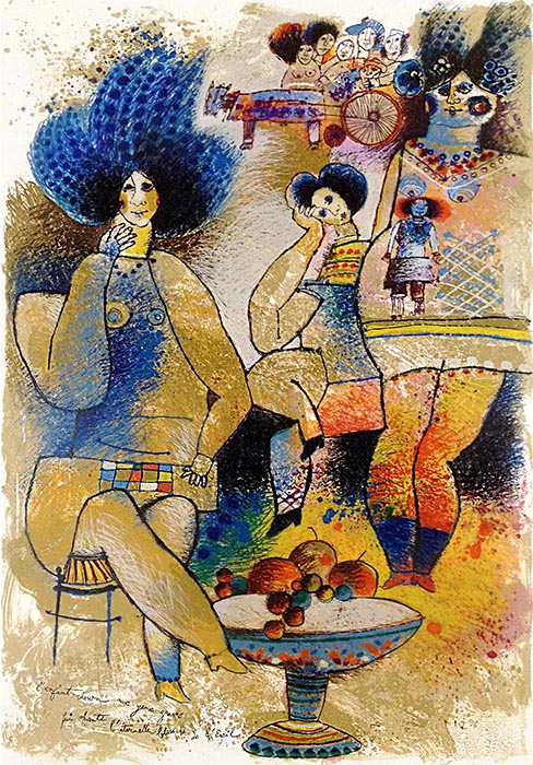 Theo Tobiasse - L'Enfant Clown aux Yeux Graves Qui Chante l'Eternelle Blessure de l'Exil judaica print of blue haired figures sitting around a table with fruit