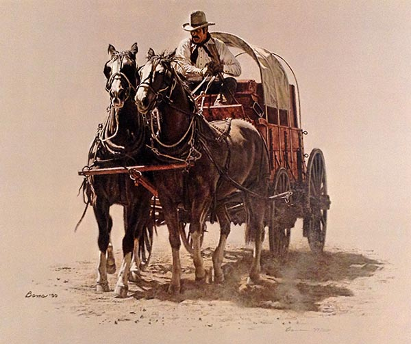 James Bama - Chuck Wagon print of covered wagon pulled by two horses
