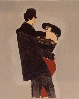 David Schneuer - The Dance print of woman in red dress dancing with a man in all black