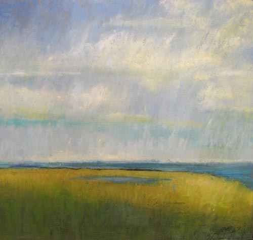 Kathleen Reilley encaustic on board of tranquil seascape with clouds