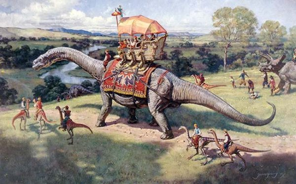 James Gurney - The Excursion print of people riding brontosaurus and other dinosaurs through a landscape