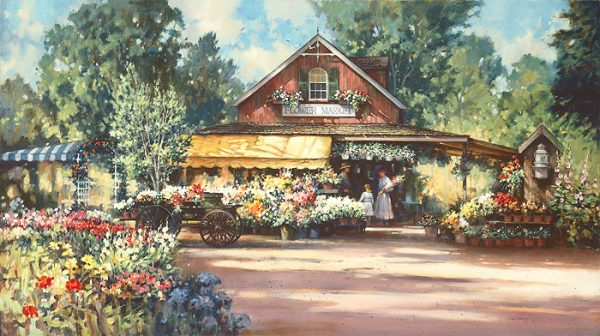 Paul Landry - The Flower Market (17x32 lithograph on paper)